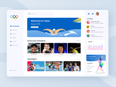 Olympic Dashboard UI Exploration webapp olympic sports dashboard sports illustration typography minimal design dashboad 2021 trend ux ui