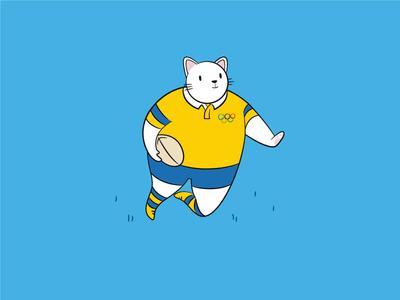 Rugby Cat grass meow funny silly janiero de rio olympics davis cat rugby