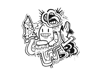 Inktober #2 weird crazy pizza street art skulls graffiti monsters sharpie inktober