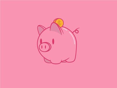 Piggie Icon rewards coupon animal babe icon bank savings coin money pink pig