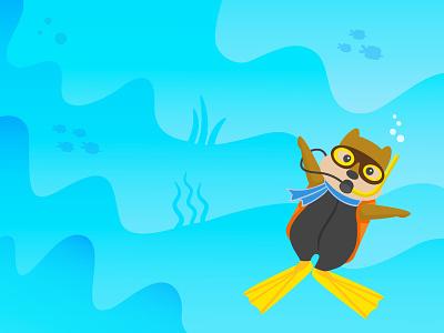 Dive In! summer landscape scuba dive underwater illustration vacation travel beach hipmunk