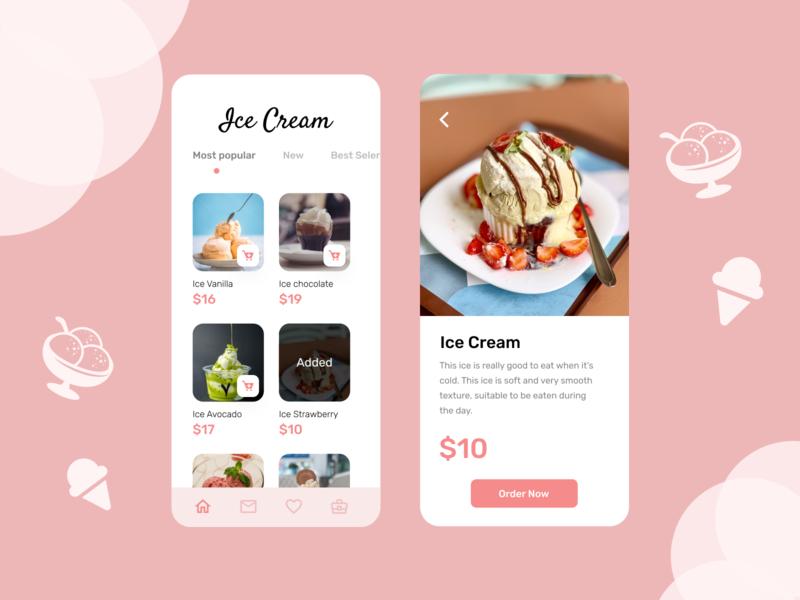 Ice Cream icecream delivery app ux ui mobile app design
