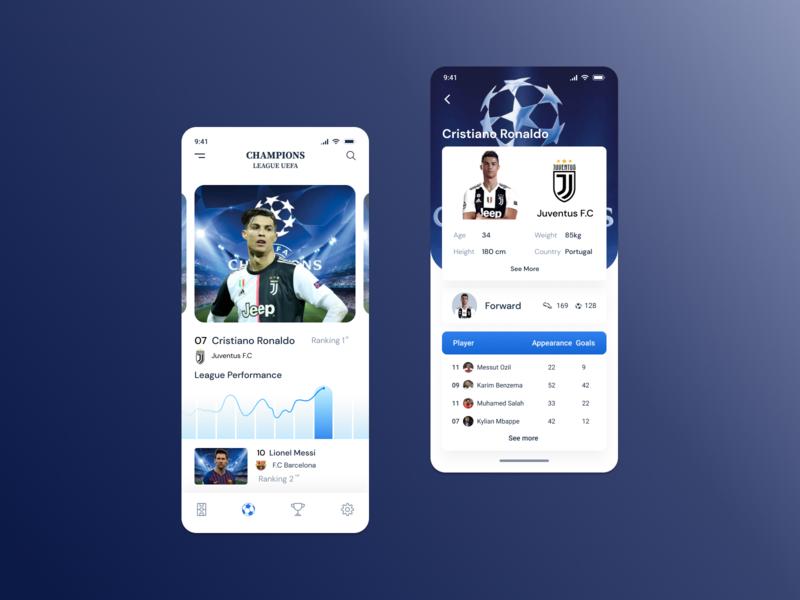 Cristiano Ronaldo uefa champions league concept spotify favorite star soccer app sports typography logo ui ux mobile app design