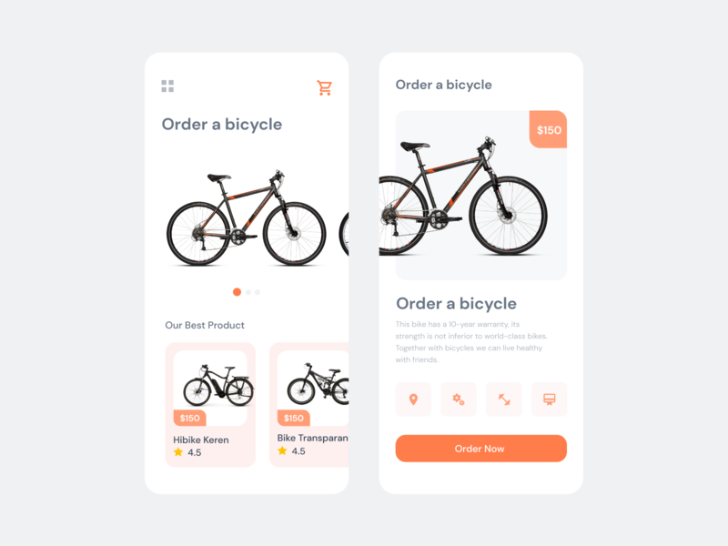 Order Bicycle icon ux ui mobile app design