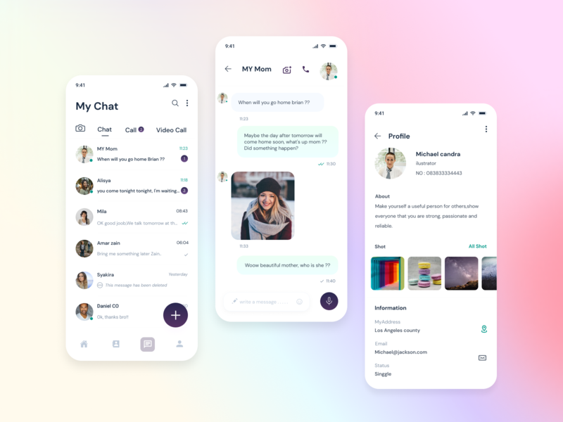Chat video call clean call chat app collor branding web ux ui mobile app design