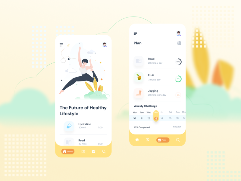 The Future of Healthy Lifestyle women in illustration fruit clean sport lifestyle web icon illustration ux ui mobile app design