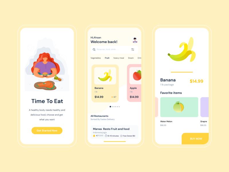 Time To Eat fruit illustration fruit ilustrator clean delivery app illustration ux ui mobile app design