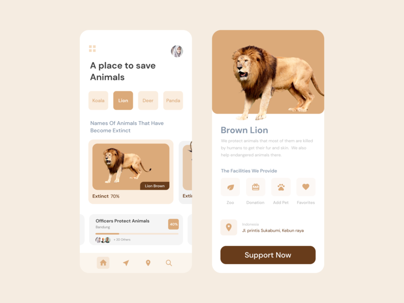 A place to save Animals icon mobile ux ui app design