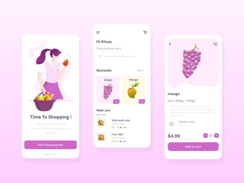 Fruit For All girl fruit delivery app illustration ux ui mobile app design