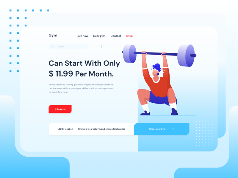Gym animation figma men fitness gym flat vector illustration ux ui design