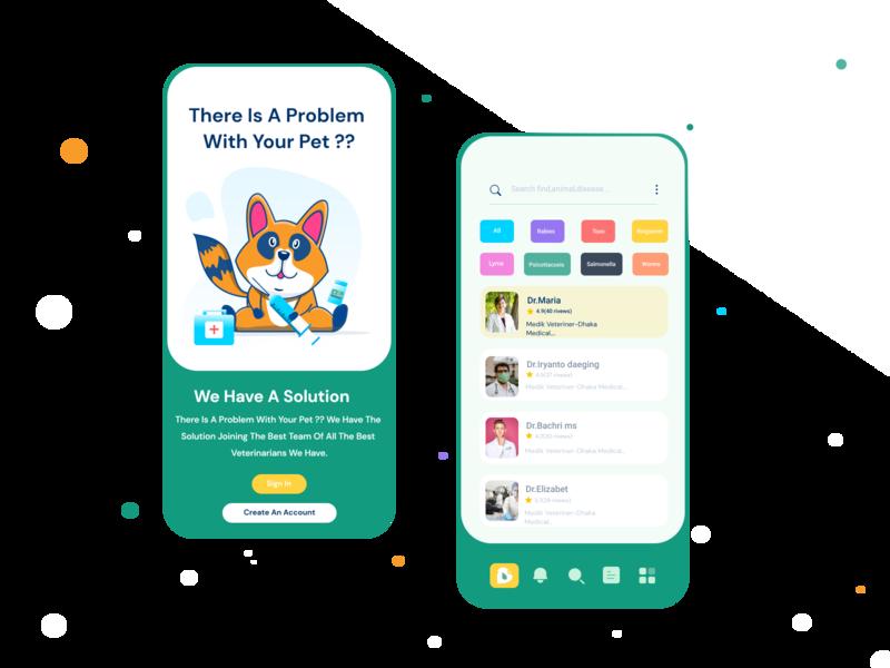 Veterinary Medicine animation icon illustration ux ui mobile app design