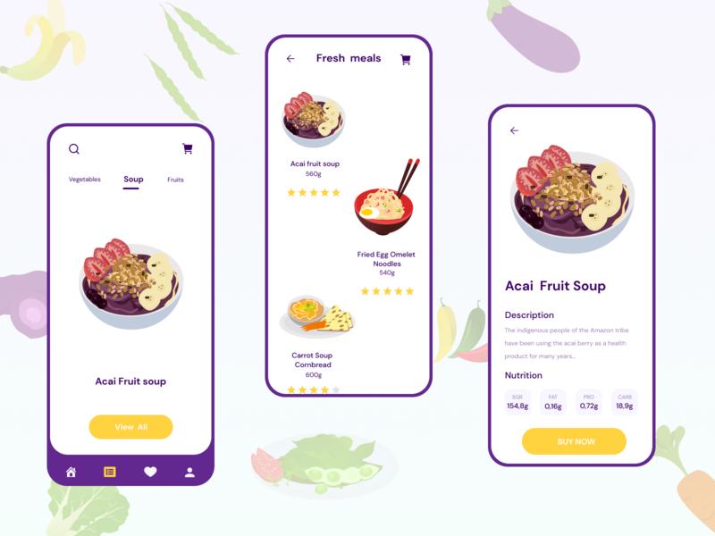 Food food food fruit illustration ux ui mobile app design