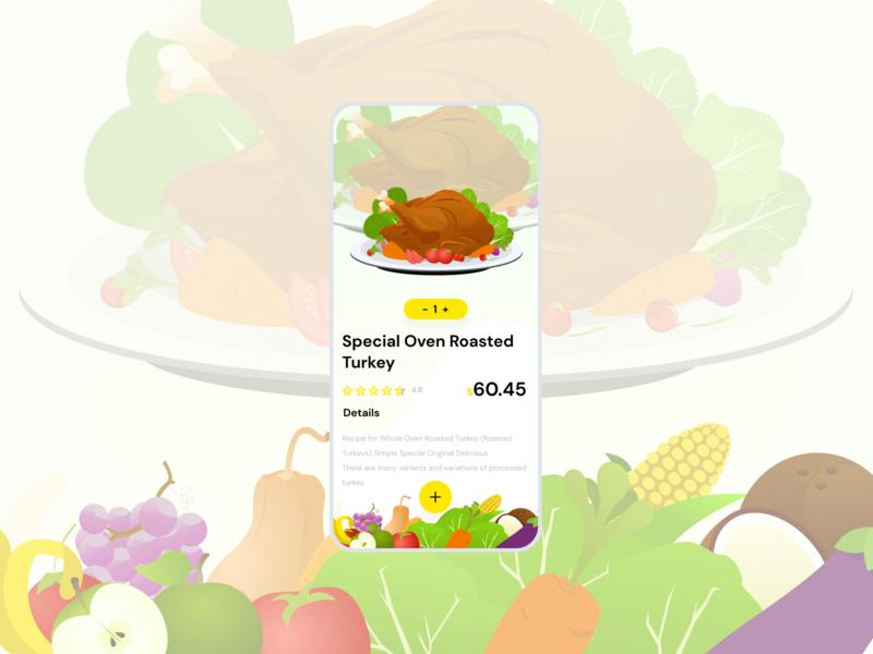 A Foodie vegetables meat fruits icon animation illustration ux ui mobile app design