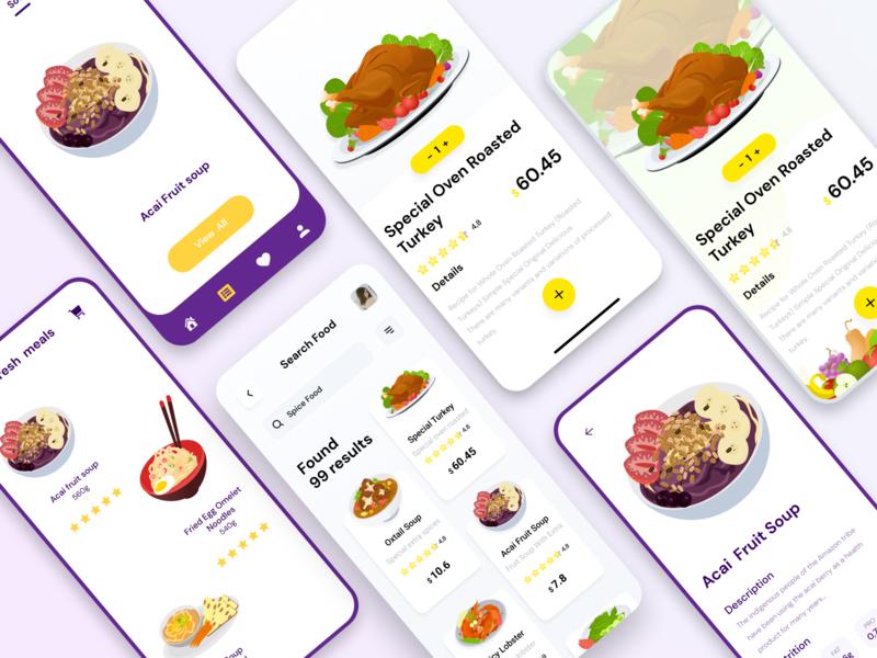Restauran app eat meet vegetable food and drink restaurant web animation delivery app icon ui illustration ux mobile app design