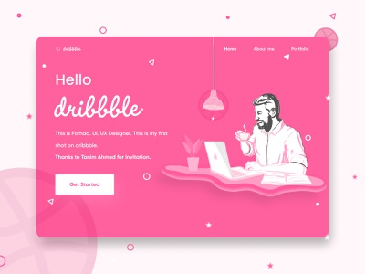 Hello Dribbble website design user experience design user interface design uiux uxdesign uidesign debut web design ux ui design