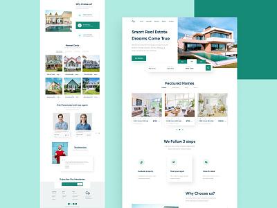 Real Estate Landing Page real estate minimal figma designer design dailyui creative concept website web landing page design graphic design illustration dribbble design trend website design web design uiux ui