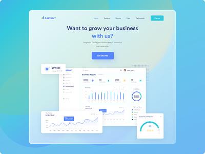Business Growth Header animation logo branding design illustration graphic design dribbble design trend website design web design uiux ui