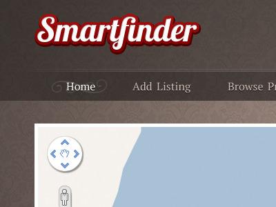Smartfinder Home dark web deisgn damask nav