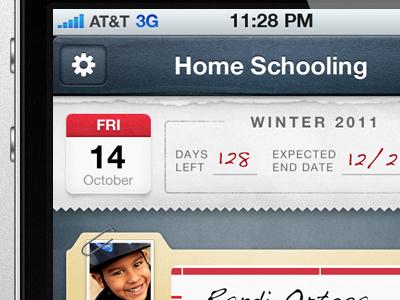 iOS School App 02  ios iphone blue paper texture school