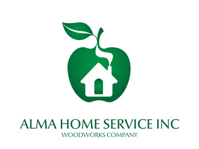 Alma Home Service Woodworks Logo leaf green instagram house apple graphics new york ny woodworking business businesscard develop design logotype logo