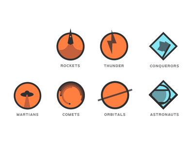 Squad logos astronauts orbitals comets martians conquerors thunder rockets space logos icons