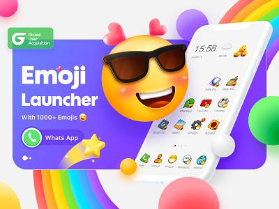 Emoji Launcher logo illustration ui