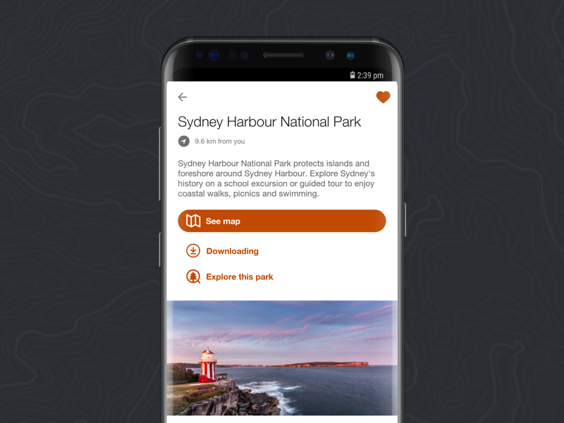 Park page - NSW National Parks App app ios android cycle trail historic buildings kayaking bush walks maps nsw parks national parks national park