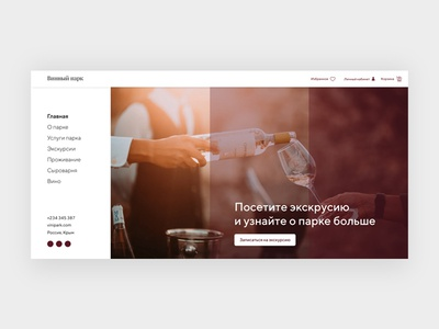 Home screen concept wine concept web-design design