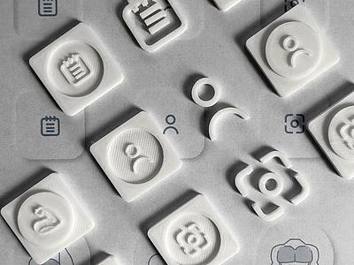 Neumorphic Iconography- 3D Printing Design Process design app ui