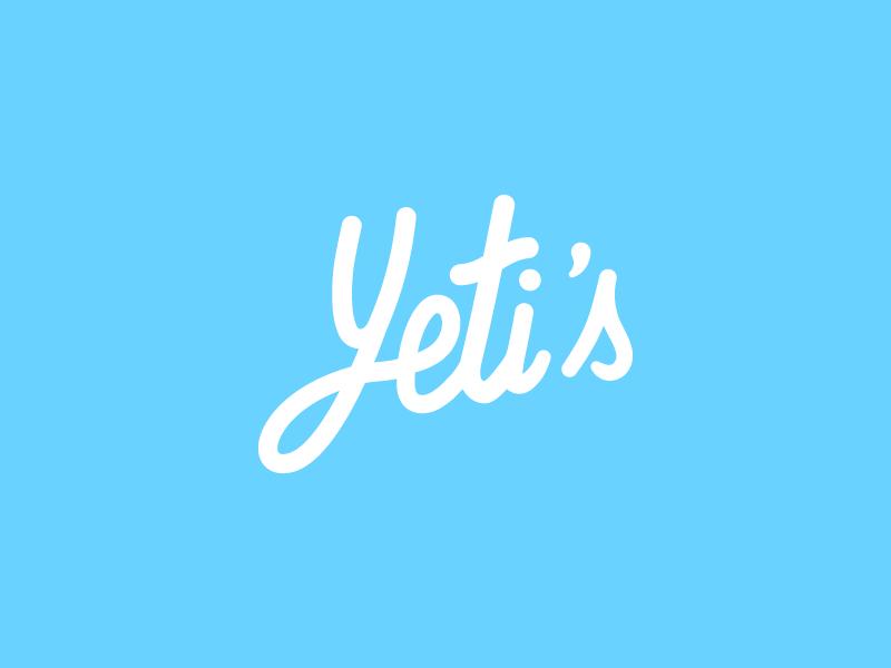 Yeti's hand lettering lettering letterpress heidelberg startup blue business card vector flat logo yeti
