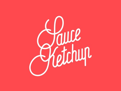 Sauce Ketchup hand lettering typography outline logo red yummy handwriting lettering burger food ketchup