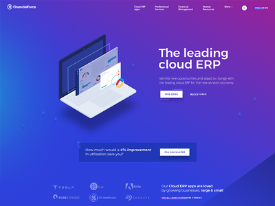 Financial Force marketing financial uiux erp website illustration colorful minimal webdesign gradient isometric corporate
