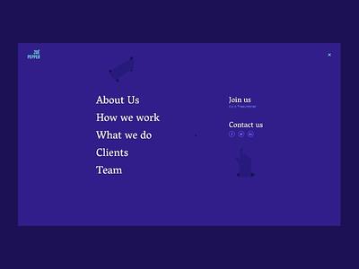Zoe Pepper | Menu motion blue purple corporate animation home flat minimal colorful nature flower hands hand ui ux ui webdesign illustration menu