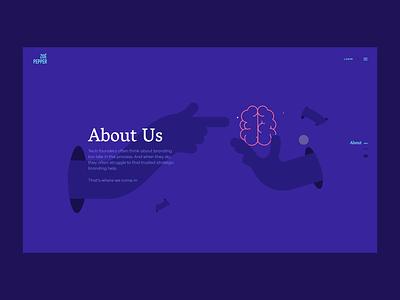 Zoe Pepper | About Us webdesign uiux purple motion minimal menu illustration hands hand flower corporate colorful blue animation abous us