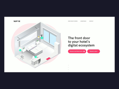kohost.io flat vector interaction minimal startup connected room hotel onepage scroll hover dark night day dark mode uiux illustration animation isometric webdesign