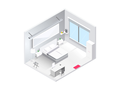 Hotel - Day & Night connected illustration vector flat minimal white isometric bed startup bedroom hotel room dark mode dark night day