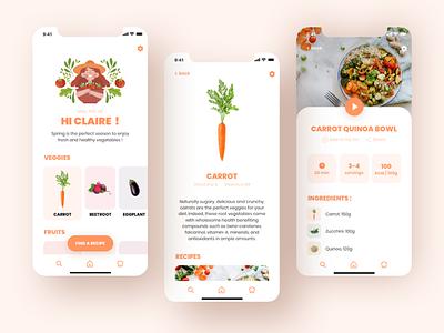 Seasonal Vegetables App dribbble shot dribbble mobile seasonal food vegetables ui design app