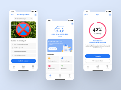 Driving Theory Test App 🚗 driving test driving lesson driving theory driving logo ux mobile app dribbble ui dribbble shot design