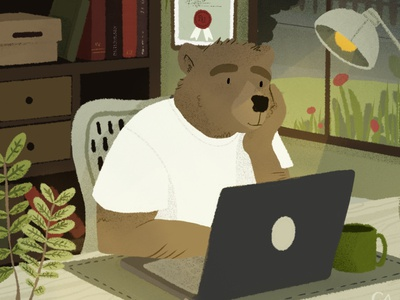 Work from home drawing workfromhome procreate illustration dribbble dribbble shot design