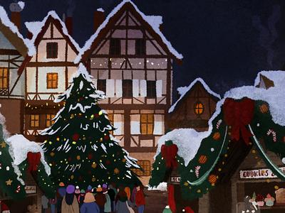 Christmas vibes 🎄 christmas tree christmas drawing procreate dribbble shot illustration