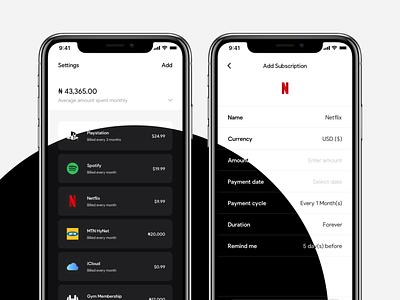 Moneo: Black or White? subscriptions design mobile ios
