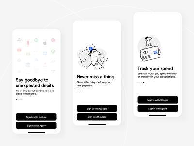 Moneo: Walkthrough subscription app mobile ios