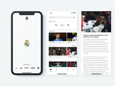 Real Madrid: Sports App Concept 2 soccer football ios mobile sport app sports real madrid