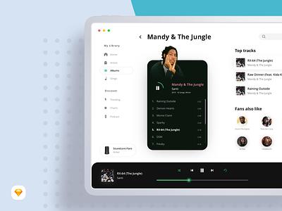 Mandy & The Jungle (Sketch Freebie) 2 download ios sketch freebie mockup ipadpro ipad music player music