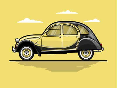 1982 Citroen 2CV retro design citroen car icon design iconography flat  design vectorart design art corporate design branding design illustration art vector art flat illustration vector illustration flat design logo illustration design vector graphic design