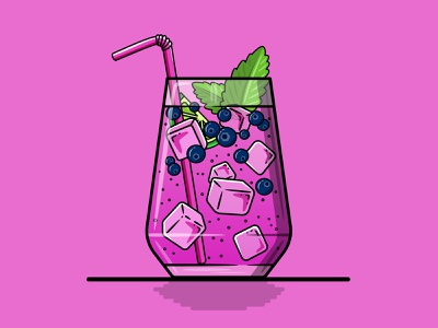 Blueberry Gin & Tonic icon gin blueberry vector illustration branding drink cocktail logo art direction vector design illustration flat illustration flat design adobe illustrator freelance designer graphic design