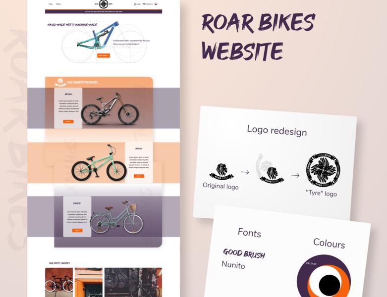 Roar Bikes Website transport sport typography logo icon branding xd design website ux ui design