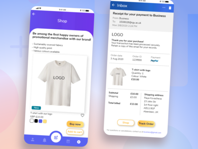 Daily UI Challenge: Ch. N12 and N17 email shop socialmedia dailyuichallenge dailyui app branding xd design ux ui design