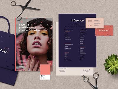 Rianne Hair & Beauty typography brand guideline logotype logo brand identity logo design brand design colour palette branding design
