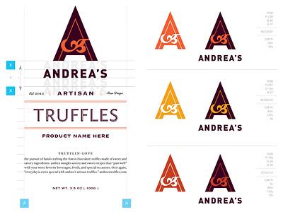 Andrea's Truffles Brand Identity murphydesign logo design packaging branding design
